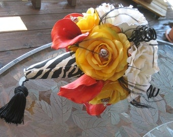 WEDDING BOUQUET - Keepsake Silk Calla lillies and Roses with enamel beads and zebra print handle