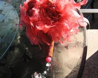 Keepsake Feather Bridal Bouquet - Roses, Bead Accents,  Custom Brocade Handle