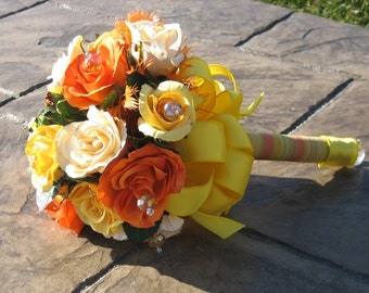 SUNSHINE WEDDING BOUQUET - Lovely Silk Roses with Swarovski Crystals, Feathers, Ribbon and Striped Fabric Handle
