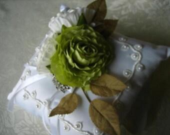 CHERISH Satin Ringbearer's Pillow - White Satin with White and Green Silk Roses & as Rhinestone Ring