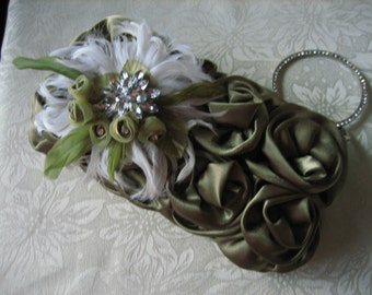 Satin Clutch Handbag Olive Green Evening Bag Rosette Rhinestone