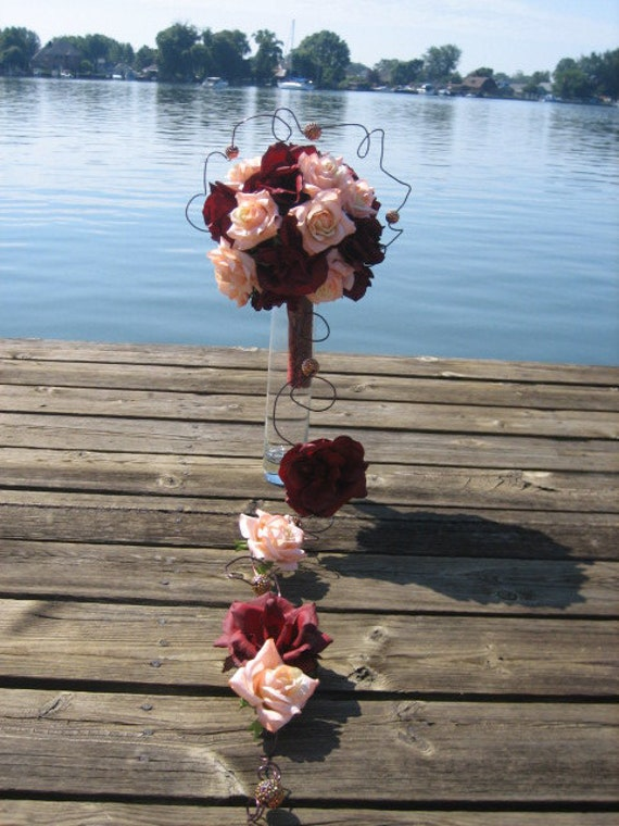 WEDDING BOUQUET - Real Touch Roses, Silk Roses, Beads Floating on Decorative Wire and Brocade Fabric Handle