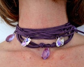 Bohemian Wrap Necklace, Purple Crystal Choker, Boho Jewelry, Bright Necklace, Leather Jewlery