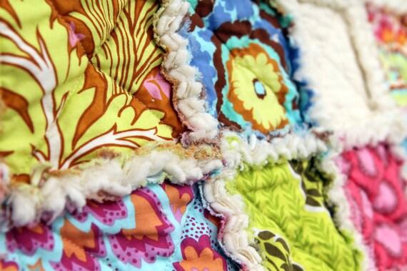 Reserved for brokenbombshell Baby Rag Quilt Baby Blanket Designer Amy Butler Soul Blossom