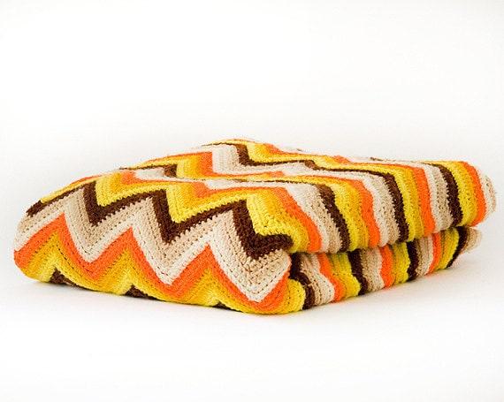 Vintage Afghan Blanket Crochet, Granny, Kitsch, Retro