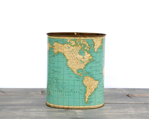 1940 S Vintage Map Trash Can Chicago Weibro By Wannanea