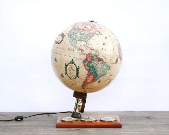SALE 1980's Globe Lamp of Scan-Globe Denmark with Weather Dials