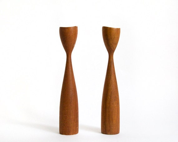 Mid Century Modern Teak Candle Sticks