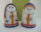 Arabia Finland Salt and Peppers, Lappalainen Boy and Girl Porcelain Salt and Pepper Shakers