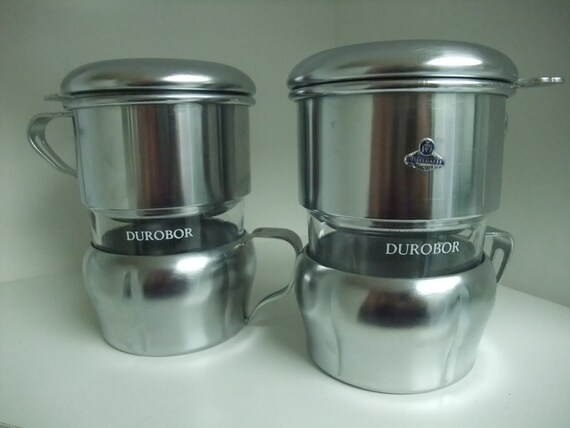 ON HOLD - 4 Durobor French Press, Coffee Cups, x4 Set of four individual presses by Durobor with coffee scoop and serving tray