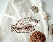 Delicate Conch hand pulled screenprint muslin drawstring bag