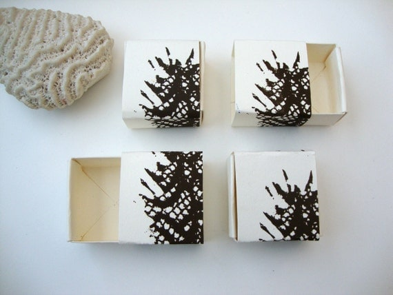 Set of 4 screen printed boxes: Dark Leaves small set of matchbox slide boxes screen printed
