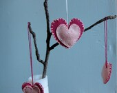 Hanging pink and magenta felt heart Valentine's Day decoration
