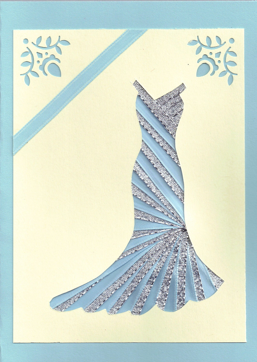 Ribbon Iris Fold Card Dress In Silver And Blue