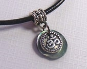 Bali-Silver style Om Pendant Necklace (Ohm, Aum) / your choice of leather or vegan cotton cord