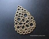 5 pcs Antique Bronze drop pendant , 27mm x 20mm x 1mm, hole 1.5mm  - 201109c17