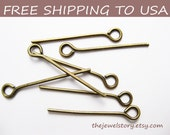 500 pcs Antique Bronze Eyepins, 0.7mm thick, 0.75inch (2.0cm) long, FREE SHIPPING to USA