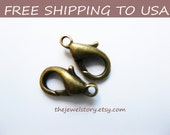 50pcs Antique Bronze Lobster Clasp, 6mmx10mm, FREE SHIPPING to USA