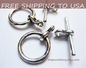 25sets Antique Silver Toggle Clasps, 12mm, FREE SHIPPING to USA