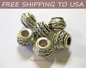 50pcs Antique Silver Barrel Spacer Beads, 9x7mm,3.5mm hole FREE SHIPPING to USA
