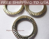 10 Pcs Antique silver Ring Pendant pendant, 17.5mm diameter, FREE SHIPPING within USA