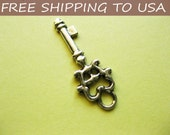25 Pcs Antique silver Key pendant, 11x30mm, FREE SHIPPING within USA