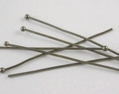 200 pcs Black/Gunmetal Ball Headpins, 0.6mm/ 22g thick, 3 inch (7cm) long, FREE SHIPPING to USA