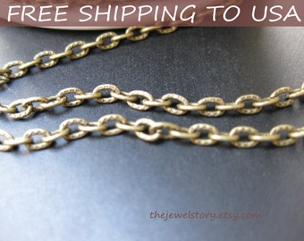 """32 ft spool Antique Bronze oval textured Cross chain,4x3x1mm, """"""""Free Shipping to USA"""""""""""