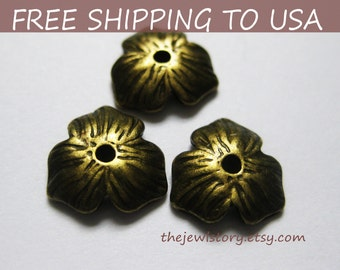100pcs Antique Bronze Bead Caps, size 11x2.5mm thick, FREE SHIPPING to USA