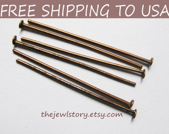 250pcs Red Copper Flat headpins, 1.2inch(3.0cm) long, 0.7mm thick, FREE SHIPPING to USA