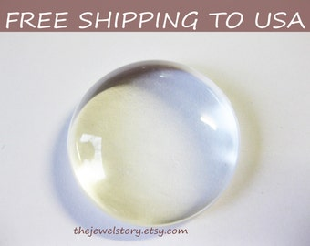 50 pcs Clear Transparent Glass Cabochons - 25mm (1 Inch), FREE SHIPPING to USA