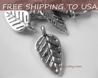 10 Pcs Antique silver Leaf pendant, 9x19mm, FREE SHIPPING within USA