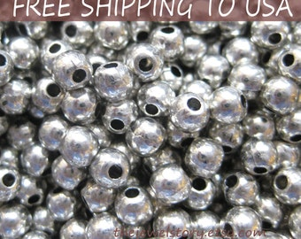 100pcs Silver Round Spacer Beads, 4mm in diameter, FREE SHIPPING to USA