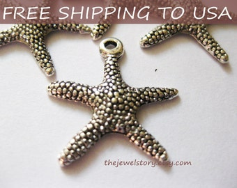 25 Pcs Antique silver Star Fish pendant, 19.5x19 x 2mm, FREE SHIPPING within USA