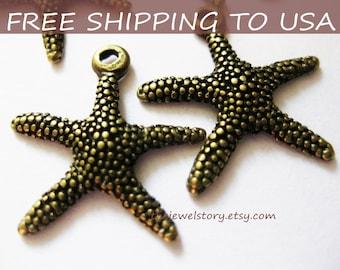 25 Pcs Antique Bronze Star Fish pendant, 19.5x19 x 2mm, FREE SHIPPING within USA