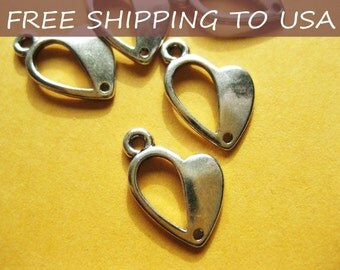 25 Pcs Antique silver Heart pendant, 13.5x10x1mm, FREE SHIPPING within USA
