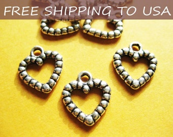 50 Pcs Antique silver Heart pendant, 14x13x2mm, FREE SHIPPING within USA