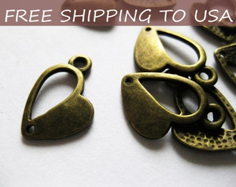 50 Pcs Antique Bronze Heart pendant, 13.5x10x1mm, FREE SHIPPING within USA