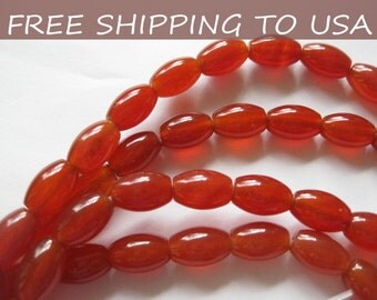 3 x 8 Inch strand, Natural Carnelian Oval gemstone bead, 12x8mm, FREE SHIPPING to USA