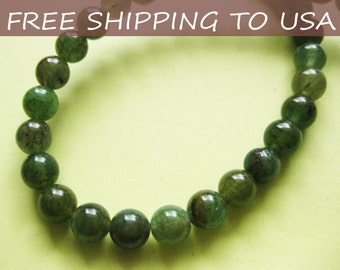 4 x 16 Inch strand, Natural Green Aventurine gemstone beads, Round, 6mm, FREE SHIPPING to USA
