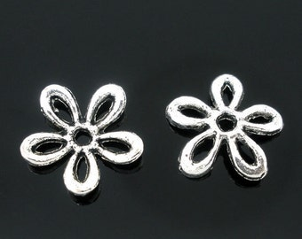 Silver Bead Caps, 100pcs, Antique silver Flower, size 11mm, DIY Jewelry Making Supplies and Findings
