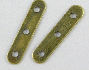 50pcs Bronze Spacers Antique Bronze Spacer Bars, with 3 Holes, 17x3.8mm, DIY Jewelry Making Supplies and Findings
