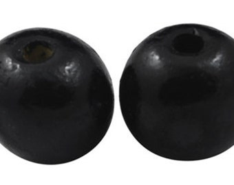 500 pcs  Dyed Wood Beads Round, black, 12mm, FREE SHIPPING within USA
