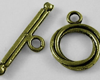 Bronze Toggle Clasps - 13x17mm Antique Bronze DIY Jewelry Making Supplies and Findings, 50sets