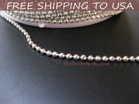 "100 ft spool Silver Ball Chain,1.5mm in diameter """"Free Shipping to USA"""""