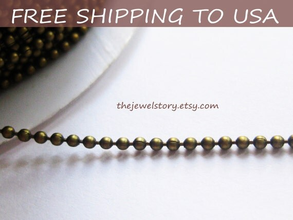 "32 ft spool Antique Bronze Ball Chain,1.5mm in diameter """"Free Shipping to USA"""""