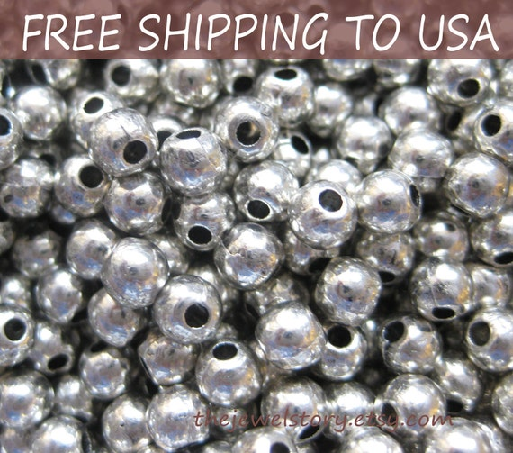 500pcs Silver Round Spacer Beads, 4mm in diameter, FREE SHIPPING to USA