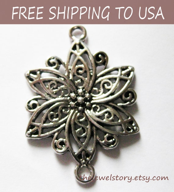 5 pcs Antique Silver Connectors/Links, Flower, 40x28x2.5mm thick, FREE SHIPPING to USA