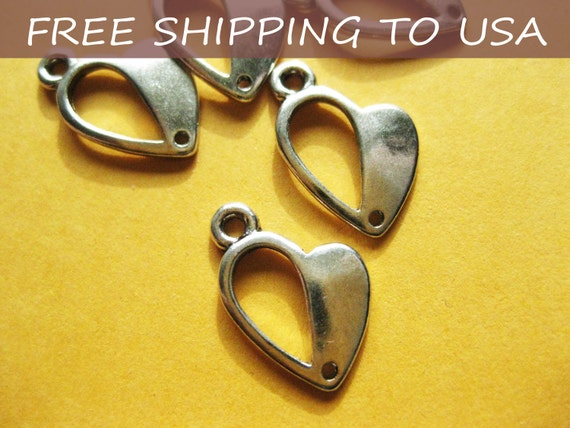 100 Pcs Antique silver Heart pendant, 13.5x10x1mm, FREE SHIPPING within USA