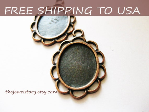 10 pcs Red Copper Oval Cabochon settings, inner tray 13x18mm,''''FREE SHIPPING to USA''''